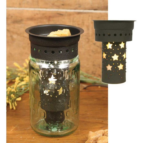 Punched Stars Pint Mason Jar Wax Warmer Kit - Brown