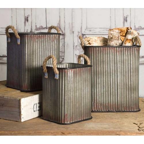 Set of Three Corrugated Storage Bins