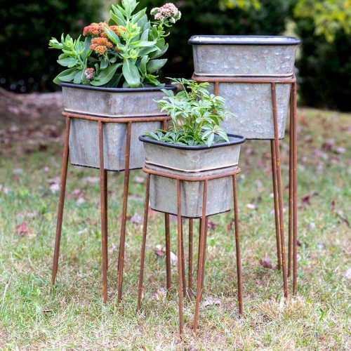 Set of Three Square Bins with Stands