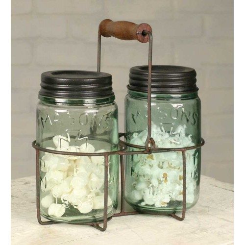Wire Pint Mason Jar Caddy Set with Wooden Handle Green/Rust