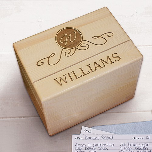 Family Wood Recipe Box Engraved