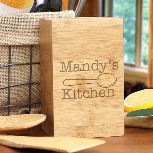 Kitchen Bamboo Utensil Holder Engraved