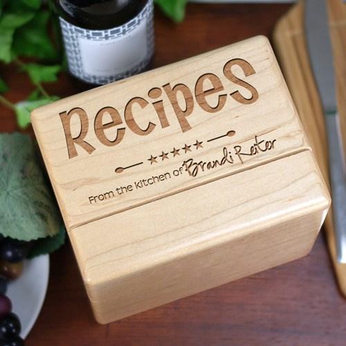 Kitchen Recipe Box Engraved