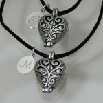 Silver Filigree Heart Locket Set Engraved