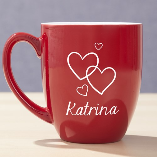 Heart Red Bistro Mug Personalized