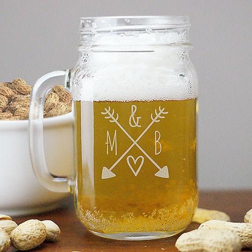 Arrow & Initials Mason Jar Personalized