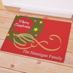 Merry Christmas Personalized Welcome Mat
