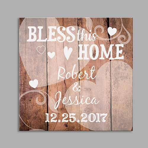 Bless This Home Square Canvas Personalized