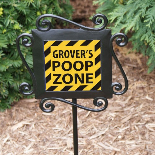 Personalized Doggy Poop Zone Garden Stake