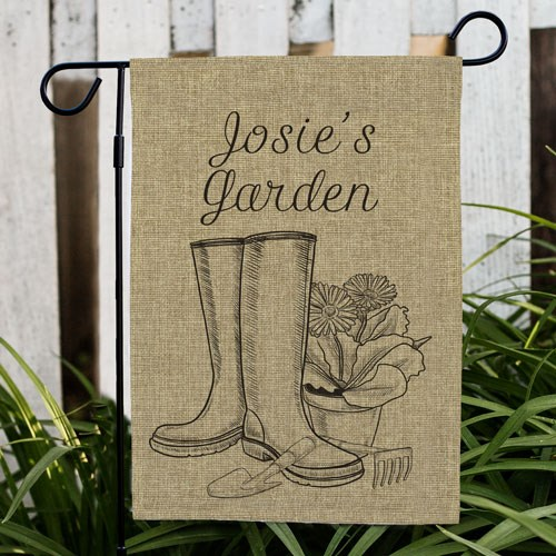 Spring Boots Burlap Garden Flag Personalized